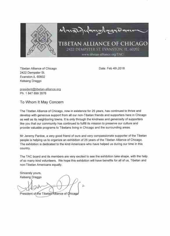 TAC Exhibition Endorsement letter